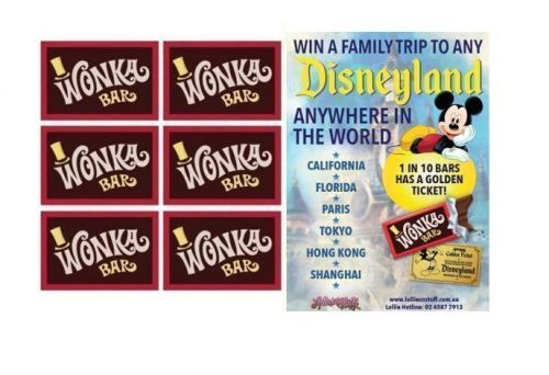 6 x Wonka Bar 50g Edible Milk Chocolate Bar FIND A GOLDEN TICKET - FOR A CHANCE TO WIN A FAMILY TRIP TO ANY DISNEYLAND ANYWHERE IN THE WORLD