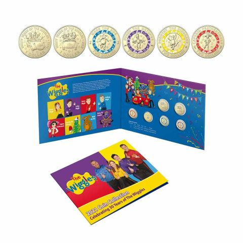 2021 30 Years of the Wiggles $1 & $2 Six Coin Collection Folder Coloured Uncirculated Coins Royal Australian Mint RAM