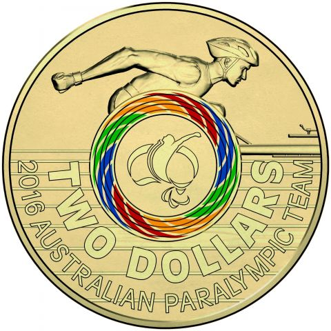 2016 $2 Australian Paralympic Olympic Games Coloured Uncirculated Coin