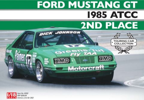 PRE ORDER - 1985 ATCC 2nd Place Dick Johnson Ford Mustang GT 1:18 Scale Die Cast Model Car (FULL PRICE - $289.00)