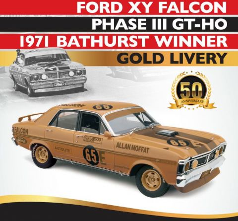 PRE ORDER - 1971 Bathurst Winner Gold Livery Allan Moffat 50th Anniversary Ford XY Falcon Phase III GT-HO 1:18 Scale Die Cast Model Car (FULL PRICE - $289.00)